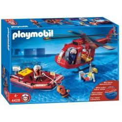 PLAYMOBIL  Helikopter ratowniczy  z pontonem i silnikiem 4428