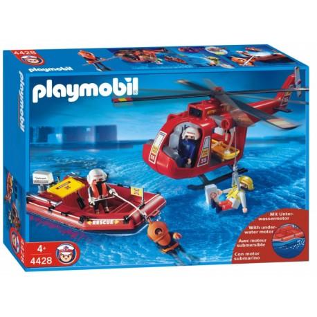 PLAYMOBIL  Helikopter ratowniczy  z pontonem i silnikiem4428