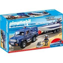 Playmobil City Action Pojazd terenowy policji z motorówką 5187